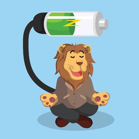 recharging: business lion recharging illustration design Illustration