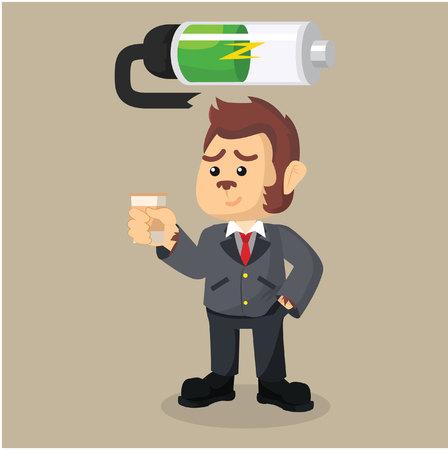 recharging: business monkey recharging battery