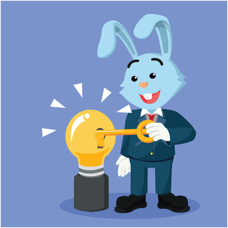 unlocking: business rabbit unlocking bulb