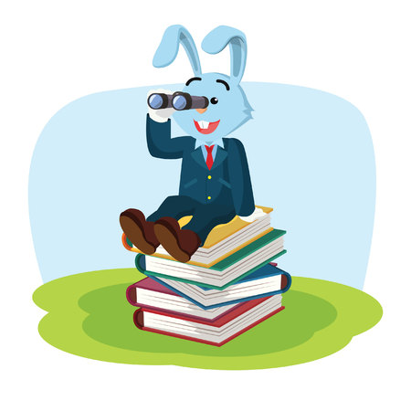 business rabbit on stack of book