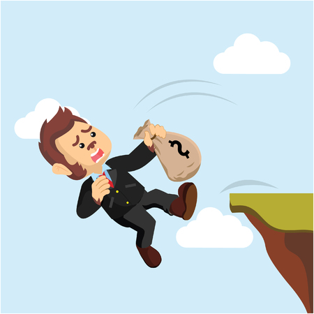 cliff edge: business monkey falling from cliff Illustration