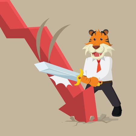 destroying: business tiger destroying downward graphic Illustration