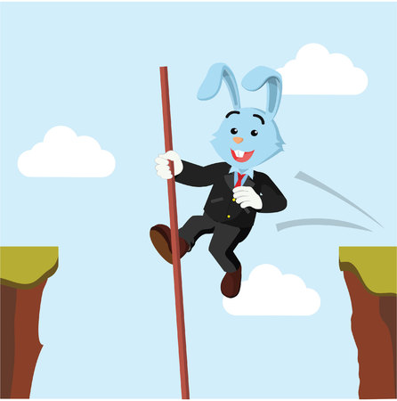 cliff edge: business rabbit crossing the cliff