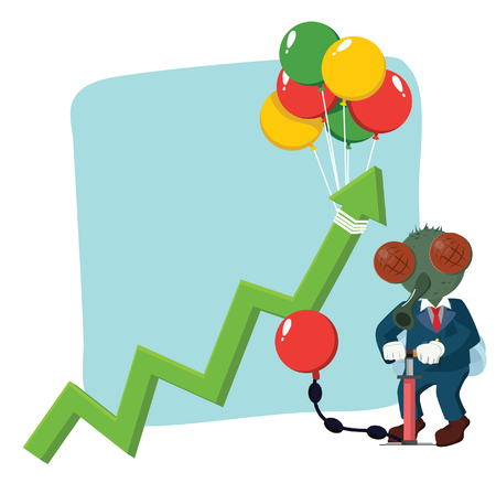 inflating: business fly rising graphic by pumping balloon