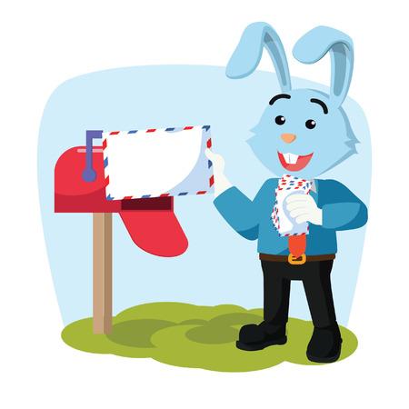 business rabbit receiving mail