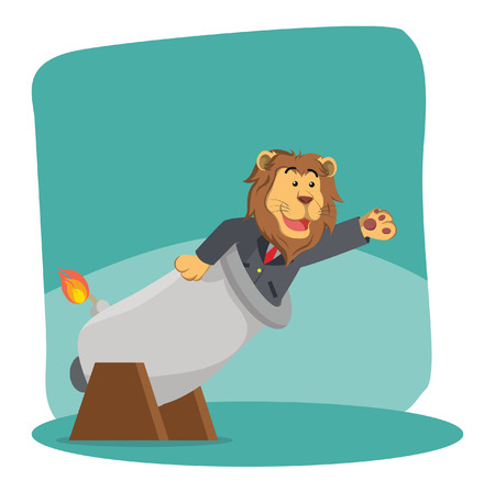 business lion inside cannon ball Illustration