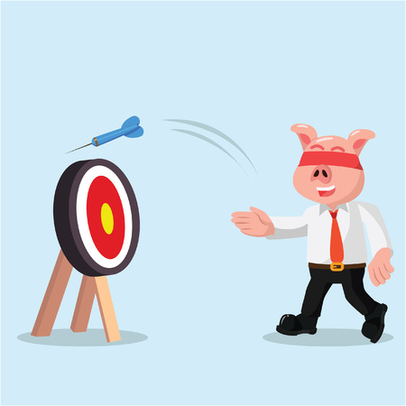 blindfold: business pig missed the target with eye closed