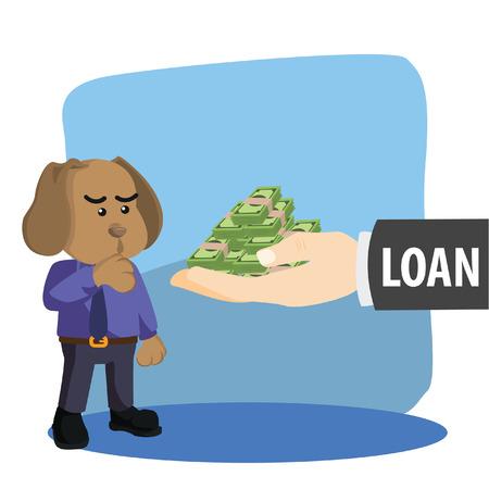 loaning: business dog thinking twice before loaning Illustration