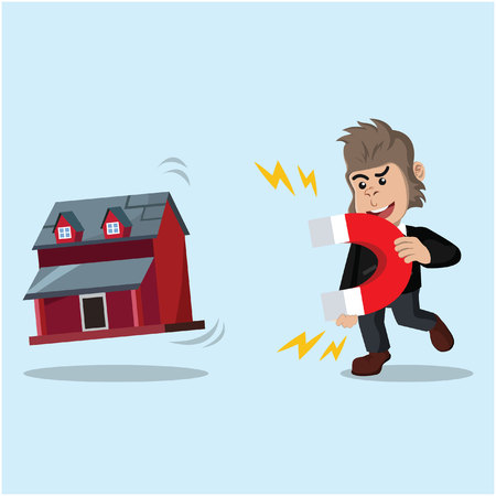 pulling: business gorilla pulling miniature house with magnet Illustration