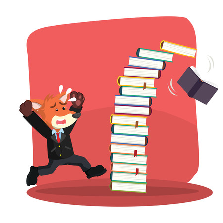 panicked: business fox panicked because falling book