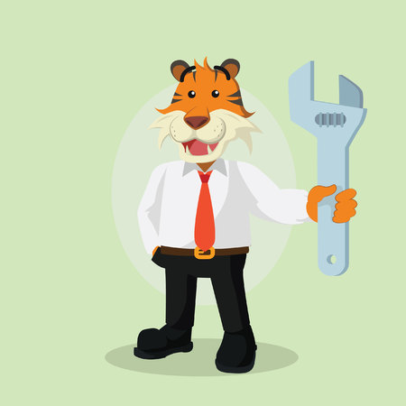 business tiger holding giant wrench