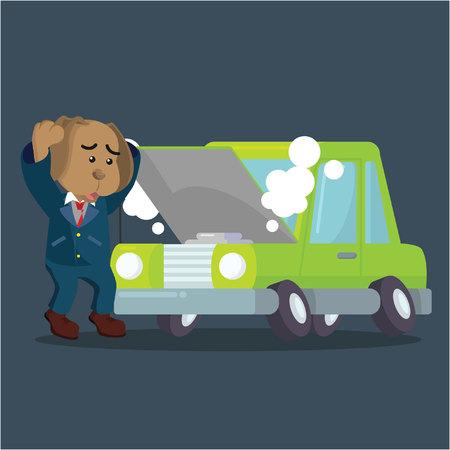 panicked: business dog panicked broken car Illustration