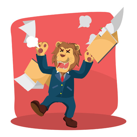 business lion angry with folder flying Illustration