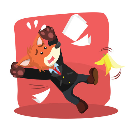 business fox slipped by banana peel Illustration