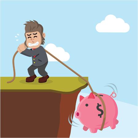 financial cliff: business gorilla pulling piggybank