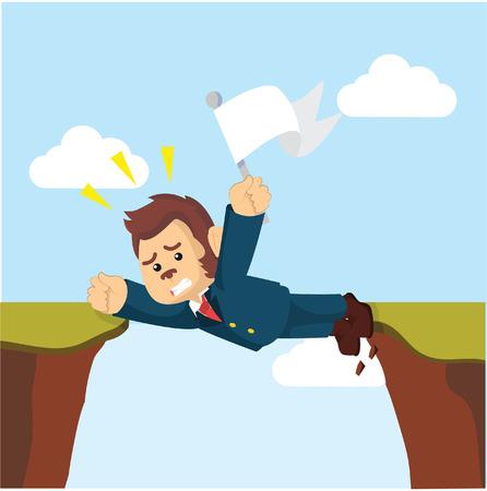 panicked: business monkey stuck between cliff