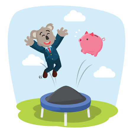 business koala jumping on trampoline with his piggy bank Illustration