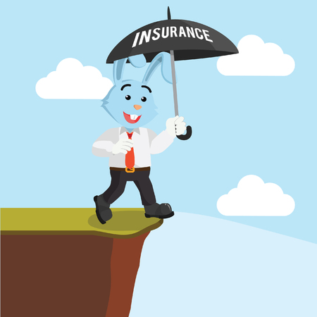 cool off: business rabbit walking on the edge with umbrella