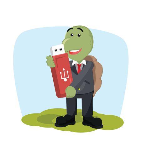 business turtle holding giant flashdisk