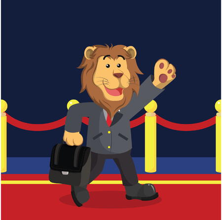 business lion walking on red carpet