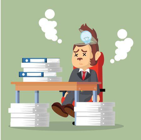 stopped: business monkey idea stopped working Illustration