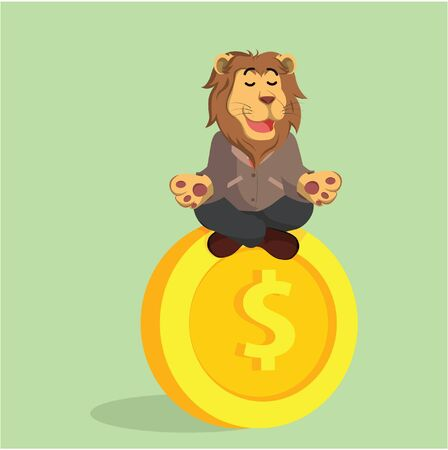 meditating: business lion meditating on giant coin