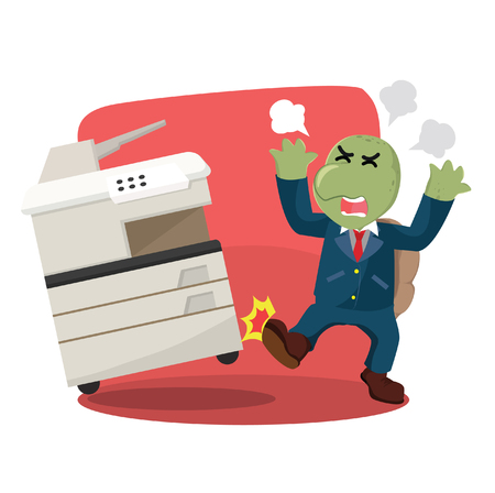 business turtle angry kicking photocopy machine Illustration