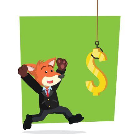 business fox accroché par des dollars
