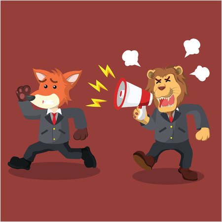 business lion yelling angry at running business fox Illustration