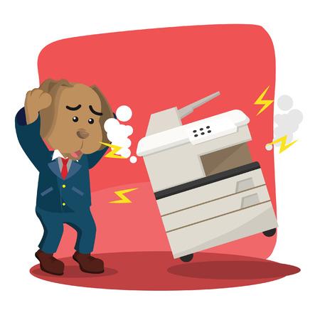 business dog panic because broken photocopy machine