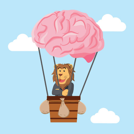 business lion flying with air balloon brain Illustration