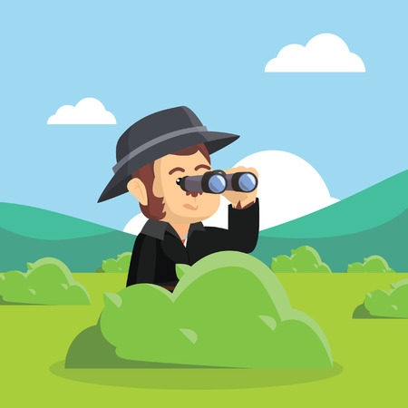 detective monkey spying illustration design