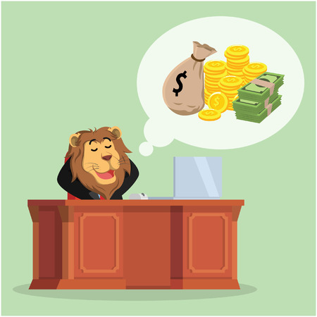 passive income: business lion thinking about money