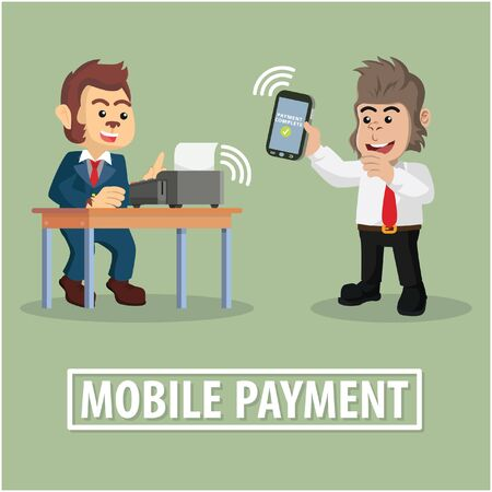 technology transaction: business monkey mobile payment to other business gorilla