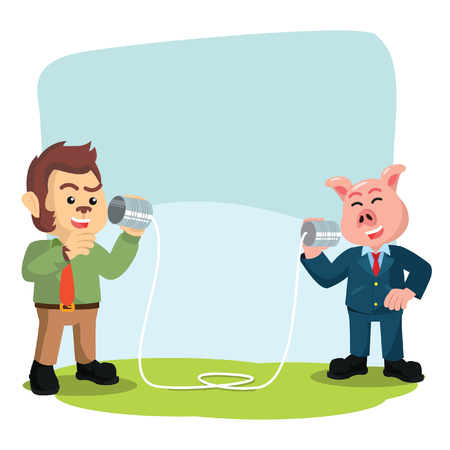business animal calling with can phone