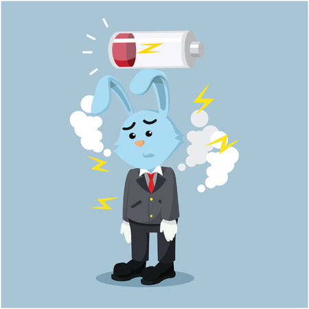 exhausted: business rabbit exhausted with low battery