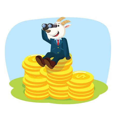 binoculars view: business goat on stack of coin with binocular Illustration