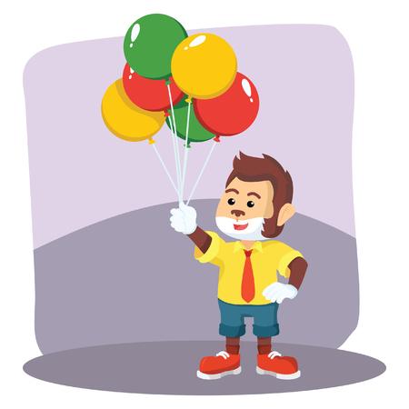 clown monkey selling balloon Illustration