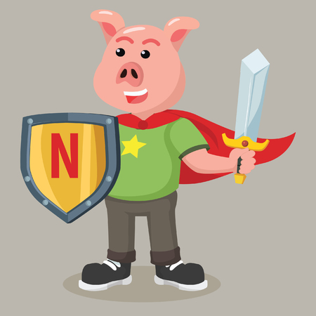 fat pig nerd holding sword and shield Stock Vector - 70307986