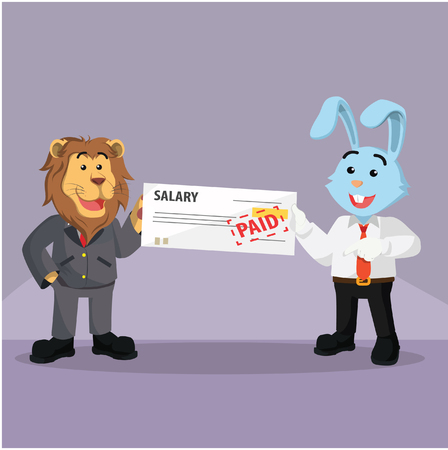 salaries: business rabbit getting paid from his boss