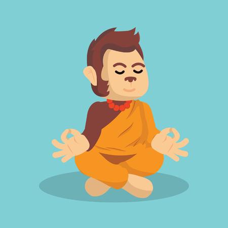 meditating: monk monkey meditating illustration design