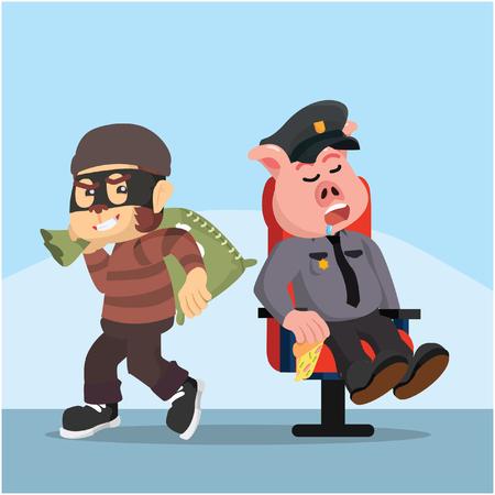 fat police pig sleeping while thief monkey easy stealing Ilustração