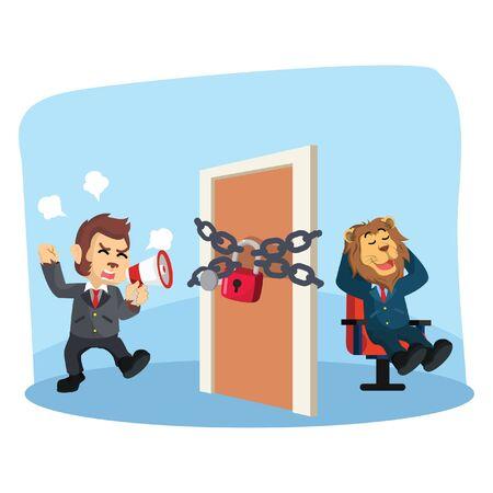 business monkey locked his door from his boss