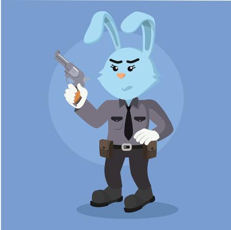 mujer policia: arma que sostiene el conejo policía