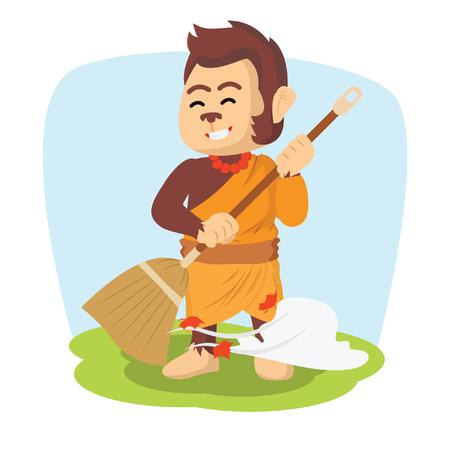 monk monkey brooming illustration design
