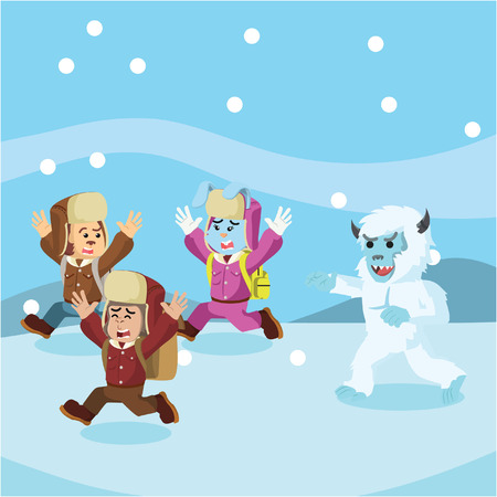 group of animal arctic explorer chased by yeti