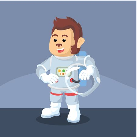 astronaut monkey removed his helmet
