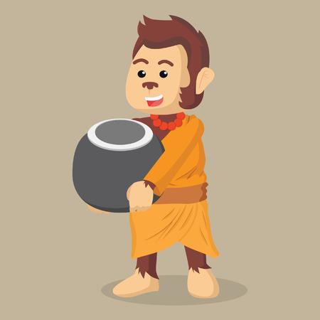 merit: monk monkey holding bowl