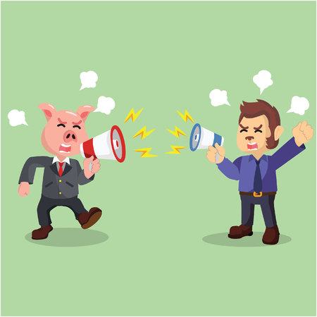 business animal fighting with megaphone Illustration