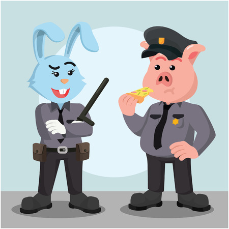 mujer policia: fat police pig officer with woman police rabbit officer